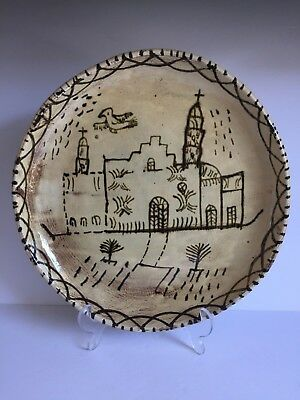 Old Vintage Folk Art TLAQUEPAQUE Mexican Pottery Hand Painted Charger Bowl 12""