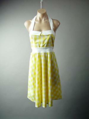 Plaid Check Yellow White Halter Vtg Style 50s Swing Sun 281 mv Dress S M L 1XL