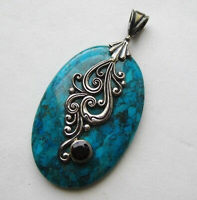Fine Vintage Sterling Silver Turquoise Garnet Jeweled Necklace Pendant