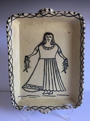 Old Vintage Folk Art TLAQUEPAQUE Mexican Pottery Painted WOMAN w FISH Tray