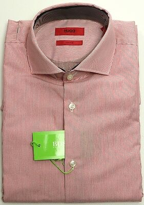 e35782fe New Hugo Boss Green Label Slim Fit Baldsar Red Pinstripe Dobby Weave Shirt M