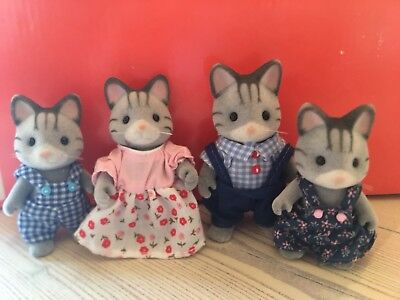 4 pc Calico Critters Gray Striped Fisher Cat Family vintage