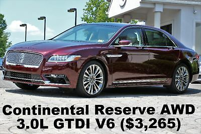 Lincoln Continental Reserve 2017 3.0L V6 GTDI Engine Rear Seat PKG Luxury PKG Technology PKG Burgundy AWD