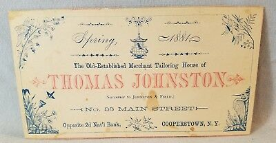 1881 Trade Business Card Thomas Johnson Merchant Tailoring Cooperstown NY NO Res