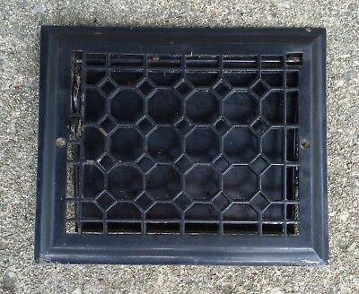 ANTIQUE CAST IRON BEVELED TOP WALL GRATE HEAT VENT REGISTER WITH DAMPER 8x10 B