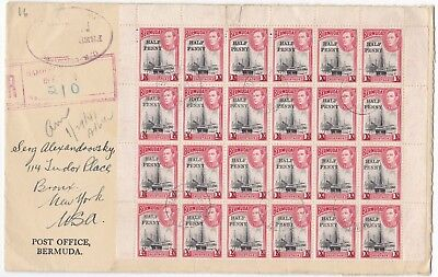 1941 PO BERMUDA COVER REGISTERED TO USA 54 x ½d STAMPS !! INCL 2 BLOCKS OF 24 !!