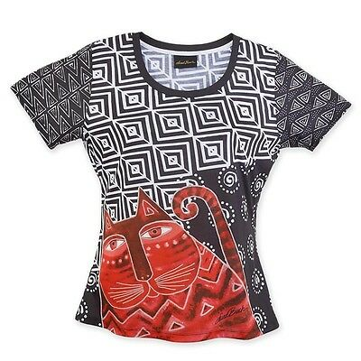 * New LAUREL BURCH T-Shirt Tee Top WHISKERED CAT Black White SIZE M Red Kitten