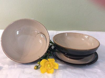 Set of Two Denby Large Stoneware Soup Bowls One Has Stand Vgc