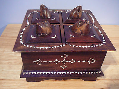 4 SECTION MOTHER OF PEARL INLAY WOOD BOX tea box, tobacco box Native Head Knobs