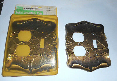 2 Vintage Brass outlet receptacle switch cover plate NOS Amerock Carriage House