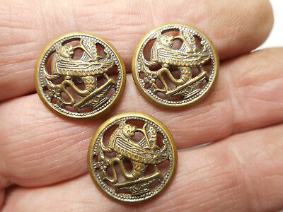"3 Matching Winged Creature Egyptian Peirced Brass Antique Button 11/16"" RS Pair"