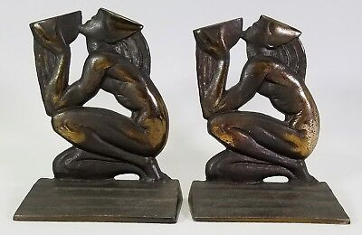 "ANTIQUE c.1920's ART-DECO ""WELL OF WISDOM"" FIGURAL BRONZED CAST-IRON BOOKENDS"