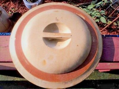 "Old White Orange-Pink Band #4 Dome Stoneware Crock Lid Only 11 3/4"" 9 1/2"" Insid"