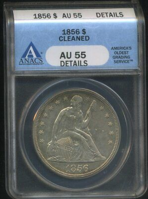 1856 $1 Silver Seated Dollar Anacs Au55 Details Great Eye Appeal Light Toning