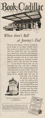 1926 THE BOOK CADILLAC HOTEL Detroit MI Journeys End Vintage 1920s Magazine Ad