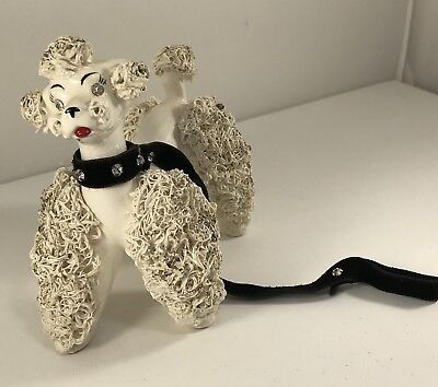 Vtg White Spaghetti Poodle Figurine Rhinestone Eyes And Collar C4