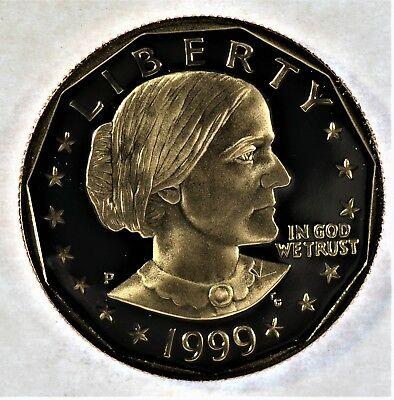 1999 Susan B Anthony Proof Dollar Coin with Box and COA (b7.92)