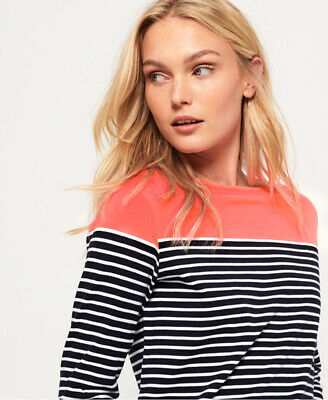 New Womens Superdry Colour Block Breton Top Fluro Coral