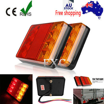 12V Waterproof Trailer Pair Of Rear Tail Light Lights Kit Submersible 8 Led Boat