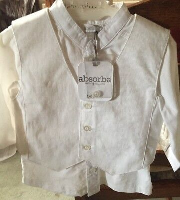 Absorba Baby Boy White Shirt And Waistcoat Age 6 Months. Christening/wedding