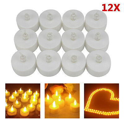 12er Set LED Kerzen mit Timerfunktion Teelichter Flame LED Lichter warmweiß Deko