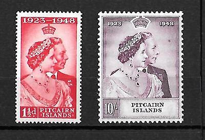 """PITCAIRN ISLANDS : 1948 """"Royal Silver Wedding"""" pair - lightly-mounted mint"""