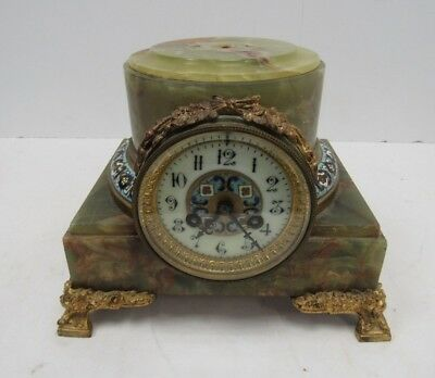 Ornate Antique Soapstone Mantle Clock Green Marble Effect - EAS S25