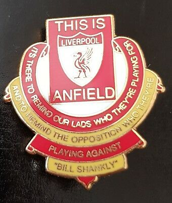 Liverpool Pin Badge - Bill Shankly Famous Saying's badge - Red and Yellow