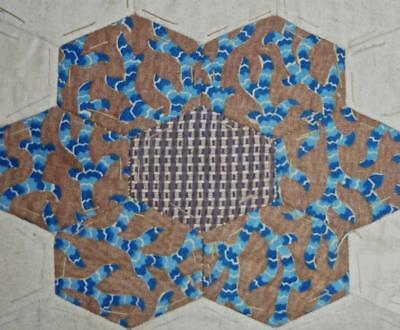 c1840s BEAUTIFUL EARLY 19th CENTURY PRINTED COTTON PATCHWORK QUILT BLOCK, REF 23