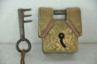 Old Iron Solid Brass Fitted Engraved Handcrafted Padlock , Rich Patina