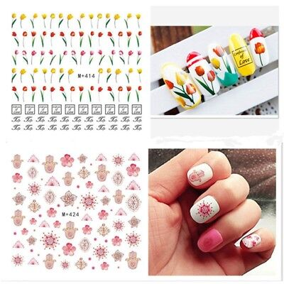 2 Sheets Flower Nail Art Water Decals Flower Manicure Transfer Stickers