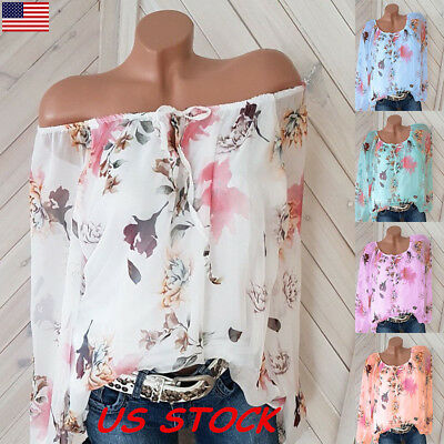 USA Plus Size Women Floral Off the Shoulder Tops Blouse Casual Loose T Shirt Tee