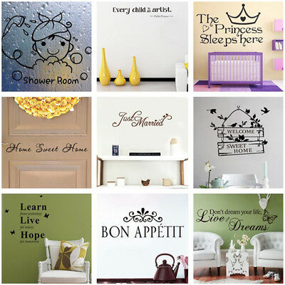 Removable Words Quote Wall Sticker Vinyl Decal Mural Kitchen Bathroom Home Decor