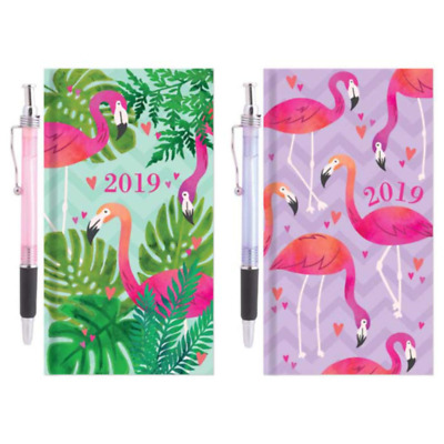 Slim Diary 2019 Week To View Glitter Flamingos Diaries & A Pen Gift Present