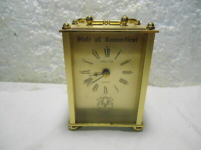 Hamilton Solid Brass Carriage Clock presentation UFC state of ct to D,MARKOWITZ