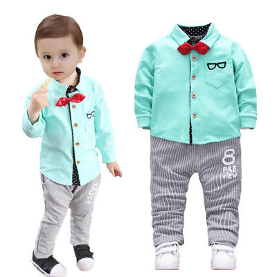 2PCS Baby Boys clothes Sets Kids Shirt+pants party school birthday wedding Suits