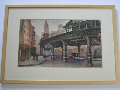 Antique American Regionalism Wpa Era Industrial Old Car City Bridge Modernist