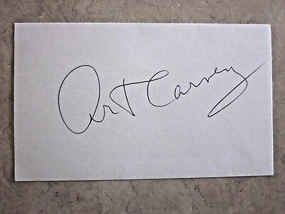 Art Carney from the Honeymooners TV show 3 x 5 autographed index card