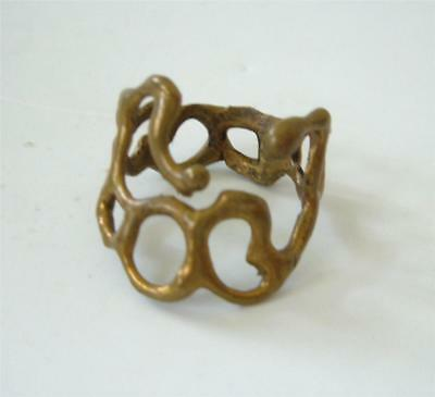 Vintage 70's Brutal Modernist Artisan Brass Bronze Ring sz 9 Large