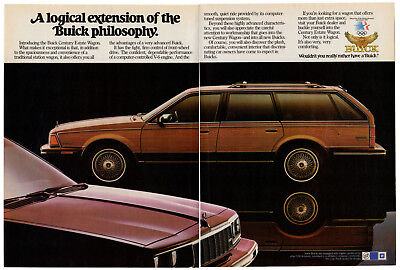1984 BUICK Century Estate Wagon Vintage Original 2 page Print AD Woodie car USA