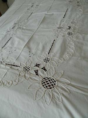 "Vintage cream cotton bedspread or tablecloth with applique embroidery -100"" long"