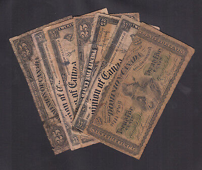 1923 Dominion Of Canada 25 Cents Bank Note Lot Of 7