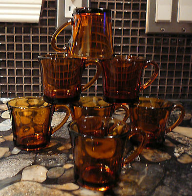 7 hard to find DURALEX FRANCE AMBER GLASS ESPRESSO CUPS GREEK TURKISH COFFEE