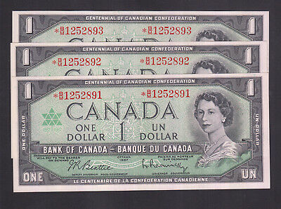 1967 Canada 1 Dollar Consecutive Replacement Bank Note X 3