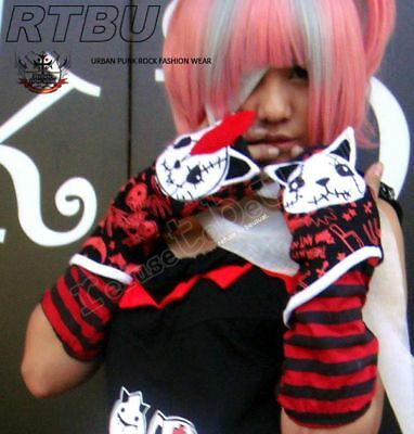 Hangry Angry GOTH PUNK Arm Warmer Fingerless Glove RED