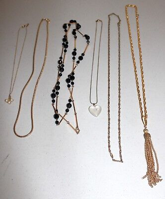 Lot of Vintage to New Gold Tone Necklaces & Pendants-Estate Jewelry--Some Signed