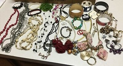 Vintage Lot Of Costume Jewelry - Necklaces, Earrings, Bracelets (New/used)