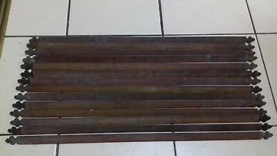 14 Old Victorian Reclaimed Triangular Brass Stair Rods( 30.5 Inches By 1 Inch)