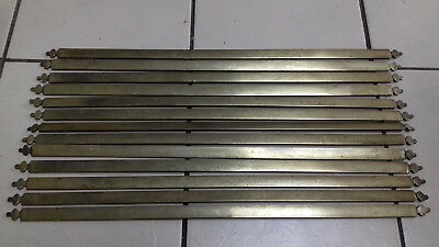 13 Old Victorian Reclaimed Brass On Steel Stair Rods( 30.5 Inches By 1 Inch)