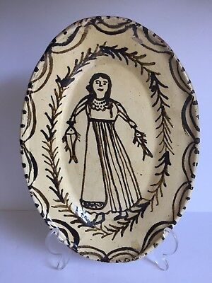 Old Vintage Folk Art TLAQUEPAQUE Mexican Pottery Painted WOMAN w FISH Oval Tray